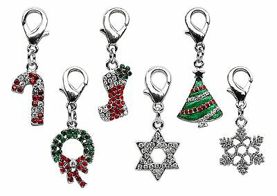 Christmas Dog Collar Charms - Lobster Claw - Tree, Stocking, Snowflake, Wreath