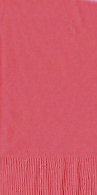 50 Plain Solid Colors Dinner Hand Towel Napkins Paper - Coral