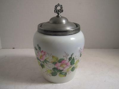 STUNNING Biscuit Jar Barrel Hand Painted Enamel with Pewter Lid - L@@K!!