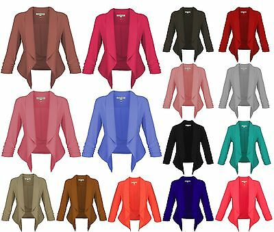 New Womens Open Front Ruched Sleeve Solid Color Thin Jacket / Blazer Casual