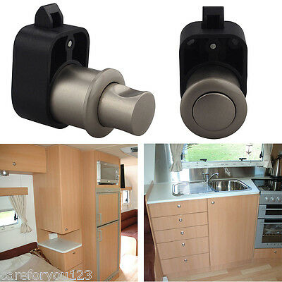 Button Push Latch Knob Lock Drawer Caravan Furniture Cupboard Motorhome Boat