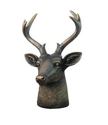 "Stag Lord Deer Table Bust 12.5"" Tall Antique Bronze Finish Hunting Hunters New"