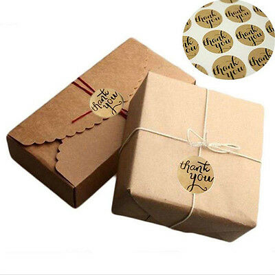 "120Pcs ""Thank You"" Packaging Seals Kraft Sticker Label Gift Box Decor 3.5X3.5CM"