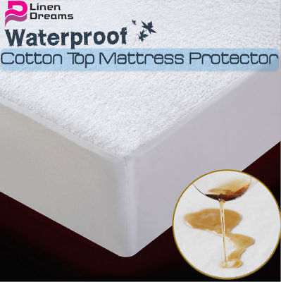 Fully Fitted Cotton Non Woven Waterproof Mattress Protector Cover All Size Cot