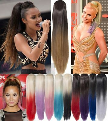 "New Womens Straight Dip Dye 22"" Long Ponytail Claw Clip Hair Piece Koko G128"