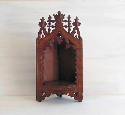 ANTIQUE FRENCH CARVED WOOD CORNER STATUE WALL BRACKET SCONCE CORBEL SHELF Gothic