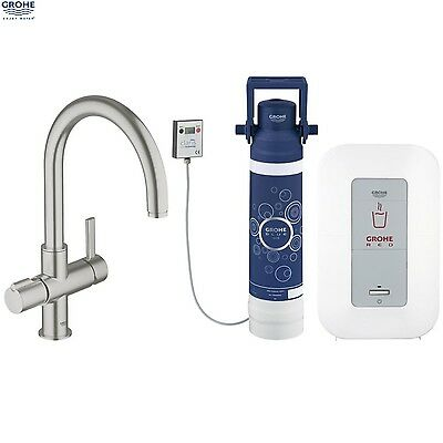 GROHE 30058 DC0 Red Duo SuperSteel Kitchen Mixer & Single Boiler, 30058DC0