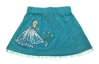 Girls Disney Frozen Elsa 100% Cotton Skirt With Tulle Trim and Glitter Kids Size