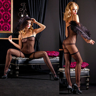 Black Sheer Striped Bodystocking Lingerie w/ Faux Thigh Hi's Sz Regular ML1766