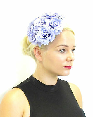 Lavender Lilac Purple Rose Flower Fascinator Headpiece Races Vtg Floral Hat Z26