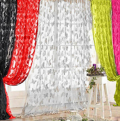 Butterfly Sheer Panel Window Curtains Valances Thin Voile Tassel Drape