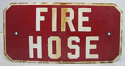 Old Porcelain FIRE HOSE Sign red white enamel two grommet industrial safety adv