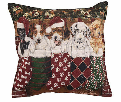 PUPPIES Christmas Throw Pillow 17x17 Tapestry Stockings Santa Hats DOGS Lab New