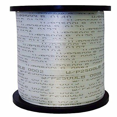 """5/8"""" x 3000', 1800 lbs Polyester Mule Tape - White w/Black Markers"""
