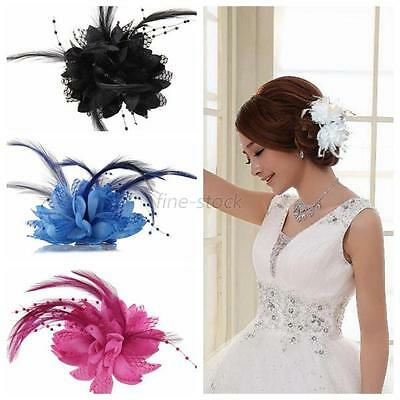 Women Flower Feather Corsage Hair Clips Party Wedding Bridal Hairband Brooch Pin
