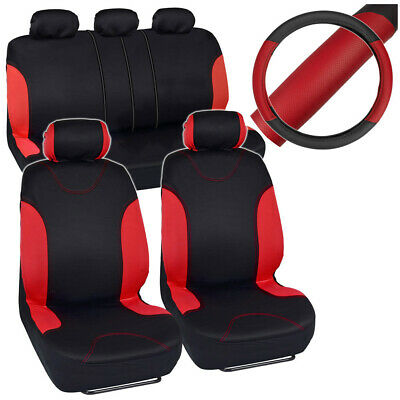 Red Trim Black Poly Cloth Seat Covers for Car SUV Truck + Steering Wheel Cover