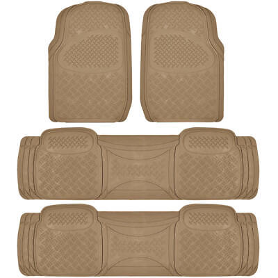SUV Floor Mat for 3 Row Car All Weather Duty Beige Trimmable Semi Custom Fit