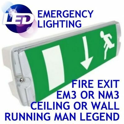 Ansell IP65 Maintained Emergency Bulkhead Exit Light Fitting IP65 8W NM3 3HR