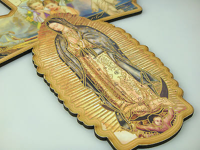Wooden Religious Saint Crucifixes With Praying Holy Mother Picture