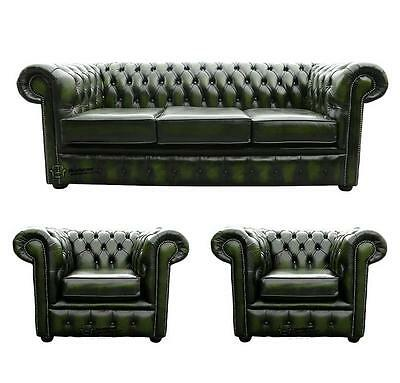 Chesterfield 3 Seater+Club+Club Chairs Antique Green Leather Sofa Settee Suite