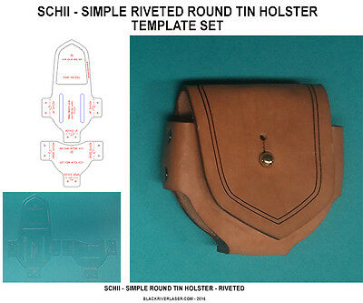 Snuff Can Holster Template Setii -  For Round Tins - Leather Crafters - New Item