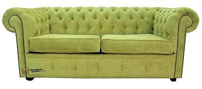 Chesterfield New Original 2 Seater Azzuro Olive Green Fabric Sofa Settee Couch