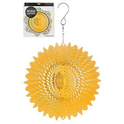 Hanging Stainless Steel Sun Catcher Wind Spinner Gold Mirror 6""