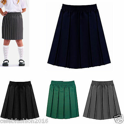 Girls School All Round Waistband Elasticated Skirt Box Pleat Uniform Kids