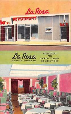 Annapolis Maryland La Rosa Restaurant Linen Antique Postcard J45574