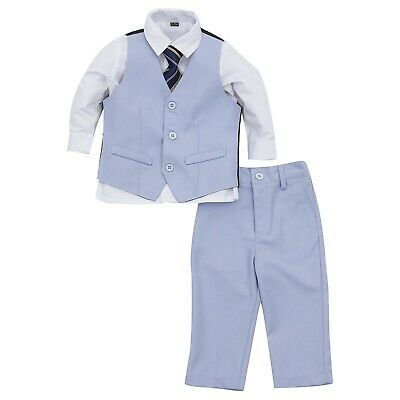 Page Boy Formal Wedding Christening 4pc Light Blue Suit with Tie 6 Ms - 6 Yrs