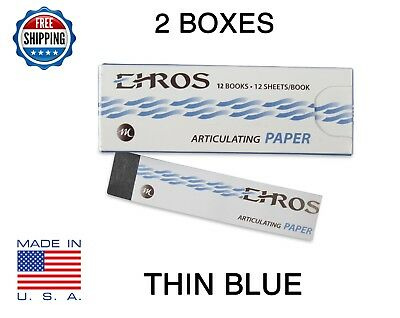 "2 BOXES DENTAL ARTICULATING PAPER THIN (0.003"") BLUE  288 Sheets  MADE IN USA"