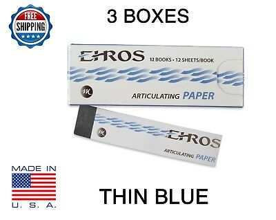 "3 BOXES DENTAL ARTICULATING PAPER THIN (0.003"") BLUE  432 Sheets  MADE IN USA"