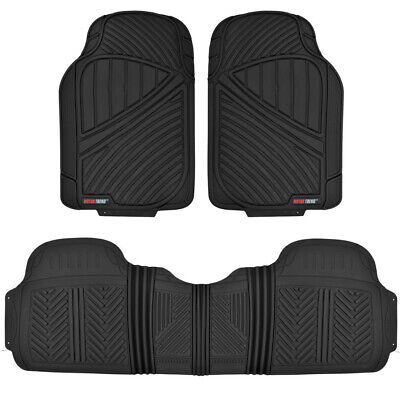 Motor Trend FlexTough 3pc Rubber Car Floor Mats - Heavy Duty All Weather Black