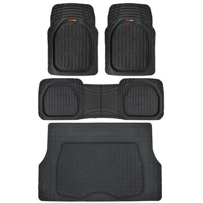 Motor Trend Deep Dish Car Rubber Floor Mats & Cargo Set Black - Premium Interior