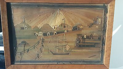 Lot 2 19th C. Napoleonic Prisoner Straw Art Framed Marquetry Pictures St Helena