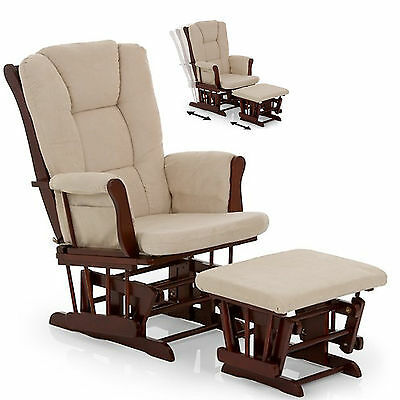 New Hauck Walnut / Beige Glider Nursing Feeding Chair & Stool Armchair