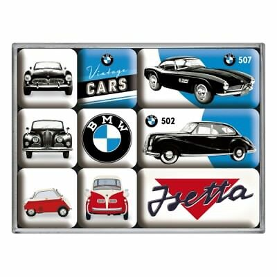 Magnet Set 9 tlg. BMW Vintage Cars Isetta,in Poly Box,Nostalgie Set,NEU