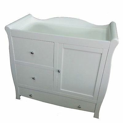 New 4Baby White Sleigh Dresser / Baby Changing Unit With Cupboard And Drawers