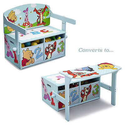 Delta Children Disney Winnie The Pooh Convertible Bench / Desk / Toy Storage Box