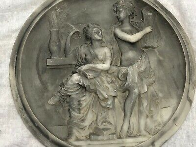 Vintage French Parian Classical Round Plaque Man Playing A Harp & Woman Scribe