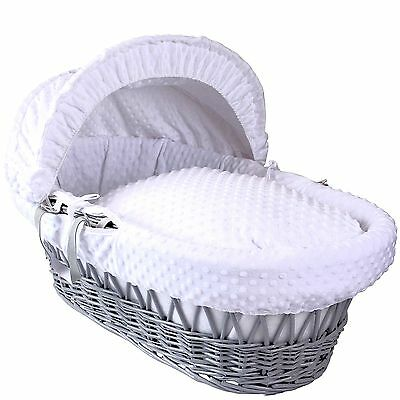 Clair De Lune Deluxe Padded Grey Wicker Moses Basket Dimple White