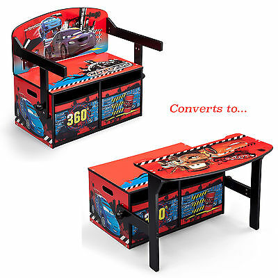 New Delta Children Disney Cars 3In1 Convertible Bench / Desk / Toy Storage Box