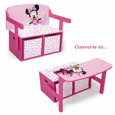 Delta Children Disney Minnie Mouse Convertible Bench / Desk / Toy Storage Box