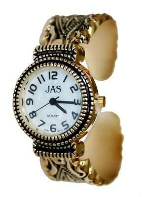 JAS Gold Plated Ladies Bracelet Bangle Metal Watch Antique Marcasite Style