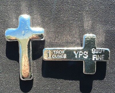 "1 oz Hand Poured 999 Silver Bullion Bar ""Cross"" by YPS - Yeager's Poured Silver"