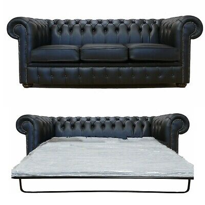 Chesterfield 3 Seater Sofa Bed Premium Black Leather Sofa Settee