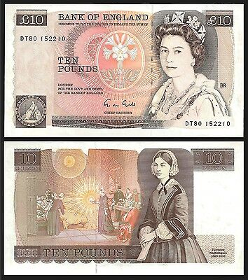 Great Britain 10 POUNDS Gill ND (1988-91) P 379e AU
