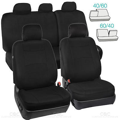 Full Black Car Seat Covers Set 5 Headrests 60/40 Split Bench for Auto SUV - 9pc