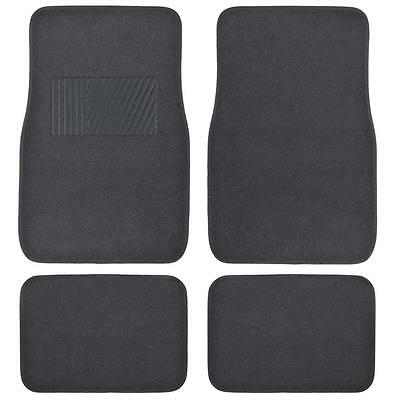 Deluxe 4 Piece High Quality Thick Plush Auto Carpeted Floor Mats - Charcoal