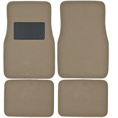 Deluxe 4 Piece High Quality Thick Plush Auto Carpeted Floor Mats - Medium Beige